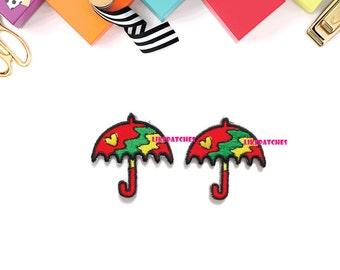 Set 2pcs. Umbrella Patch - Red Umbrella New Sew / Iron On Patch Embroidery Applique Size 3.4cm.x3.5cm.
