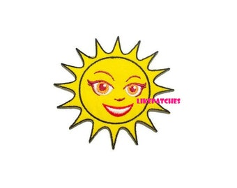 Yellow Sun Smiley Beautiful Face New Sew / Iron On Patch Embroidery Applique size 8.5cm.x8cm.