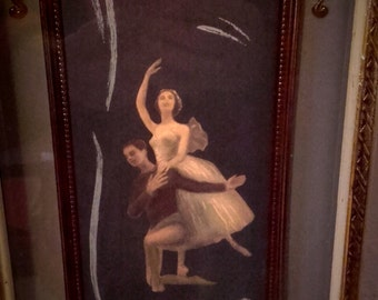 Vintage 40's 50's Mid Century Pastel drawing Ballerina Ballet Shadow box picture