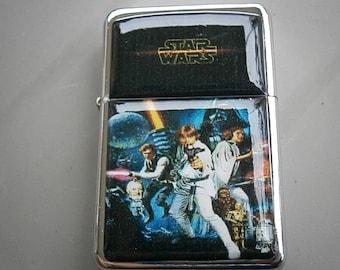 STAR WARS HEROS star hand finished design oil flip windproof lighter Movie sci-fi hans solo obi wan kenobi luke skywalker princess leia