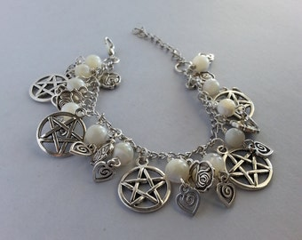 White roses and pentacle bracelet