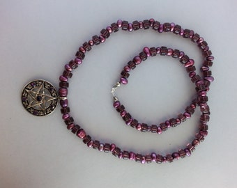 Long weird purple pentacle necklace