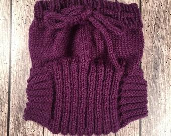 Medium Hand Knit Wool Soaker - Wool Diaper Cover - Diaper Cover - Purple Wool Diaper Cover