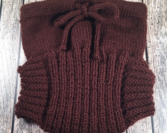 Large Hand Knit Wool Soaker - Wool Diaper Cover - Diaper Cover - Brown Wool Diaper Cover