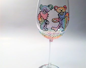 Grateful Dead wine glass, hand painted wine glass, the dead wine glass, dancing bear wine glass
