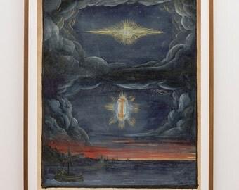 Comet Art, Occult Art Prints, Magic Paintings, Magic Art Prints, William Blake, Watercolor Sky,  Meteor Art Print, Painted Meteor