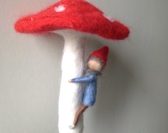 Waldorf inspired needle felted mobile, gnome hanging from a toadstool