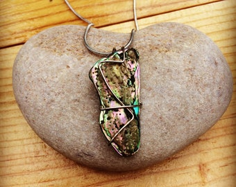 Handmade New Zealand Paua Shell and Sterling Silver Necklace