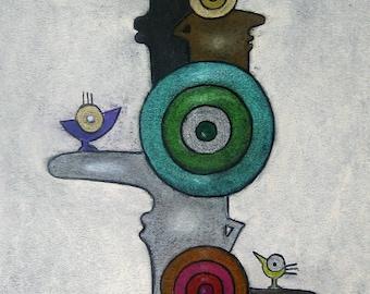 "Original artwork pastel/charcoal on paper ""Eye shadow / eyeshadow"" by the artist Nina Boos"