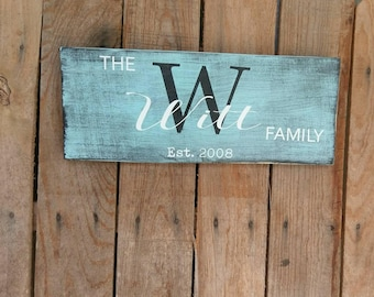 Rustic Sign Monogram Family Name Sign Wooden Wall Sign, Home Decor Bridal Shower Wedding Gift