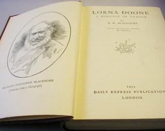 Vintage book Lorna Doone RD Blackmore romantic classic  hardback edition 1933 romance romantic classic literature 17th century England 103