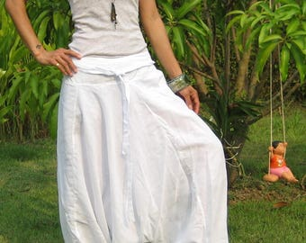 Harem Pants Women Baggy Pants Aladdin Yoga Pants Harem Baggy Pants Men Gypsy Pants Harem Boho Pants * HL - white