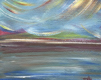 """Waters Edge, Seascape, 4""""x4"""" Mini Stretched Canvas, Acrylic Painting, Original Artwork"""