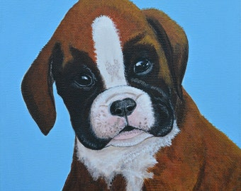 Boxer Puppy, Dog Portrait, Boxer Dog Painting, Pet Portrait, Original Painting, Gift Idea, 8x10in, MelidasArt