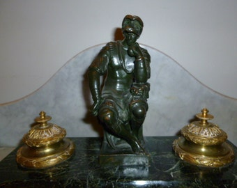 Antique French bronze and marble inkwell with Greco roman man circa 1880