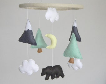 Bear and mountain nursery mobile Baby Crib Mobile Modern Animal Nursery mobile  Mountain nursery decor  Cloud Cot Mobile  Mint Gray