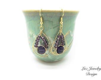 Purple earrings, purple gold earrings, wire wrapping earrings, gold purple earrings, Purple jewelry, lavander earrings