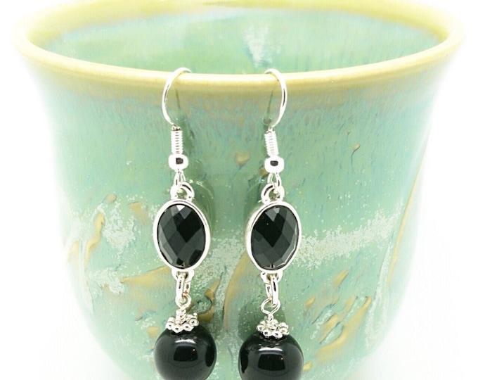 Black silver earrings, Black Bridesmaids jewelry, Black and silver earrings, black silver jewelry