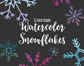 Snowflake Clipart, Digital Snowflakes, Watercolor, Hand Drawn, Snowflake Graphics, Printable, Commercial Use