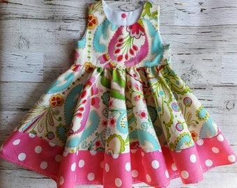 Baby Girl Dress - Girls Dress - Sleeveless Dress- Jessie Circle Dress - Pink - Toddler Girl Dress - Birthday dress - Photo prop - Cake Smash
