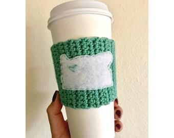 Oregon Coffee Cozy // Knitted Coffee Cozy // Sea Foam Green Coffee Cozy