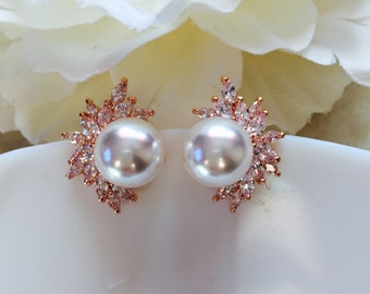 Pearl and Rose Gold Earrings, Bridal Earrings, Cubic Zirconia Bridal Jewelry, Wedding Jewelry, Bridesmaid Earrings