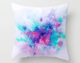 Watercolor Throw Pillow, Abstract Watercolor Pillow, Purple, Pink and Blue,Watercolor Art, Decorative Pillow, Accent Pillow, Pillow Covers