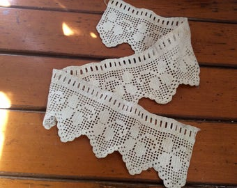 Antique crochet lace trim from Germany white/beige floral filet lace Edwardian victorian crocheted lace
