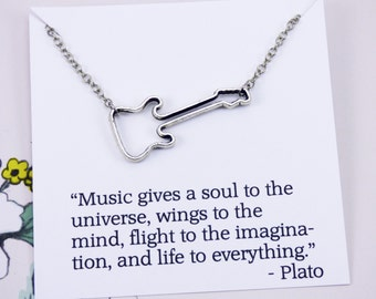Guitar Necklace, music jewelry, rocker jewelry, meaningful necklace with meaning, gifts under 10 dollars, inspirational jewelry with meaning