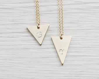 Gold Plated, Simple Triangle with Personalized Initial Pendant, Necklace