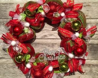 Merry christmas deco mesh wreath, christmas wreath, deco mesh wreath, red and green wreath, holiday wreath
