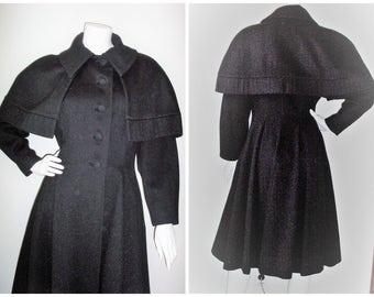"1940S/1950S ""LILLI ANN"" Fit & Flare Black Flecked Wool Princess Coat 32""Waist Excellent Mint Condition"
