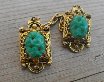Sweater Clips, Collar Clips, Vintage Sweater Clip, Dress Clip, Women's  Shirt Clasp, Vintage Shirt Clasp, Blouse Pin, Green Glass Jewelry,
