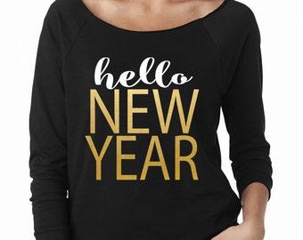 Hello New Year Wide Neck Fleece
