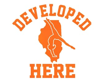 ILLINOIS Develeped Here Iron On Decal