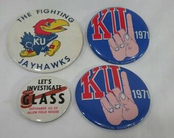4 vintage ku jayhawks pin back buttons kansas university