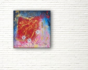 Abstract, textured and contemporary painting; modern painting for an unique wedding gift; hand painted, for wall decor living room.