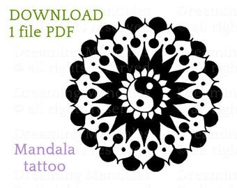 Mandala tattoo design, entirely hand drawn, with a tao, yin yang symbol.
