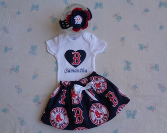Boston Red Sox Personalized Baby Girl Onesie, Skirt and Headband