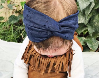 Navy Blue Eyelet : baby turban headband