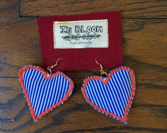 Fabric Earrings Heart Collection #4