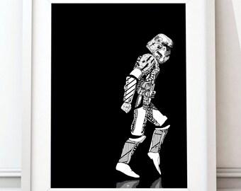Stormtrooper, Moonwalker, Black and White, Star Wars, Poster, Print, Star Wars Poster