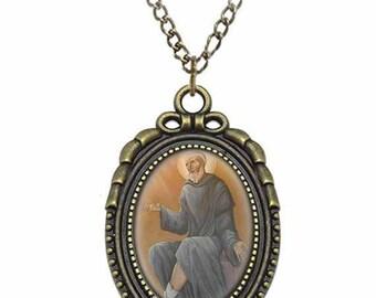 St Peregrine Laziosi Catholic Necklace Bronze Medal w Chain Oval Pendant Saint Vintage