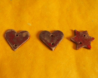 Red Star and heart ceramic buttons 3 PCs