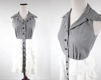 1950's Cotton Gingham Sleeveless Eyelet Ruffle Dress