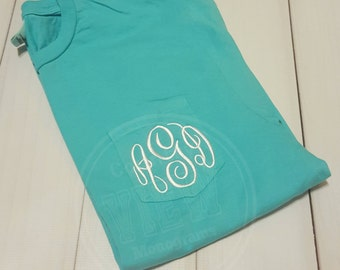 Pigment dyed Monogrammed Short Sleeve Shirt with Left Chest Pocket Monogram--Unisex fit Small-4x tee shirt--Womens Embroidered personalized