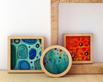 Set of 3 Miniature Artworks - Bold Pops of Blue and Orange