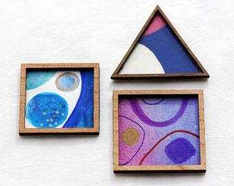 Set of 3 Miniature Artworks - Mod Shapes in Blue, Violet and Gold