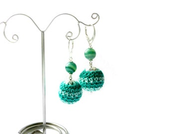 Green agate earrings wife gift  gift for women Crochet earrings Valentines  gift Lovers gift earrings Crochet jewelry