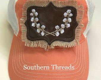 Vintage Burlap Cotton Boll trucker hat